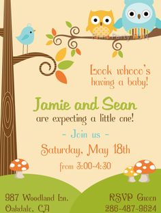 Woodland Owl Baby Shower Invitation, Printable File