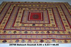 Balouch Soumak 8 x 8-3 by A Rug For All Reasons   This Balouch Soumak is a charming square shape that suits its bright colors and happy design. These rugs from Iran in gabbeh-like designs have huge appeal and collectibility as they will probably never be imported into the United States again. Beautifully constructed, durable rugs made with natural-dye wools.
