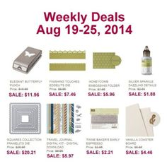 Unfrogettable Stamping | Stampin' Up! Weekly Deals for Aug 19-25, 2014  http://unfrogettablestamping.typepad.com/my_weblog/2014/08/new-weekly-deals-for-august-19-25-2014.html