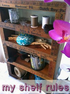 MY SHELF RULES! DIY Cover old bookcase or shelving w/ rulers... Pretty cute for a craft room :)