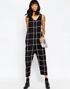 Image 4 of ASOS Linear Check Button Through Minimal Jumpsuit