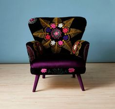 Patchwork armchair with Suzani and deep purple velvet fabrics