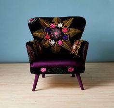 Patchwork armchair with Suzani and deep purple velvet fabrics