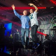 Coach Pete Carrell and Macklemore celebrating at the Seattle Seahawks Super Bowl Victory Party!