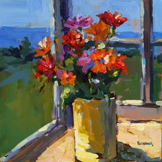 Page Railsback - Yellow Can Great Paintings, Beautiful Paintings, Landscape Paintings, Oil Paintings, Landscapes, Oil Painting Flowers, Painting & Drawing, Flower Paintings, Flower Vases