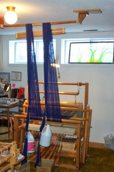 Laura Fry's Studio, showing her warping trapeze/warping valet in use.