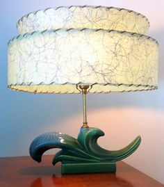 TV Lamp McCoy Style Blue Green Ceramic Atomic with Fiberglass Shade | by djwgilroy