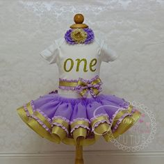 Girls First Birthday Outfit Girls Purple by FourSweetHeartsTutus