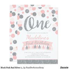 Blush Pink And Silver 1st Birthday Invitation