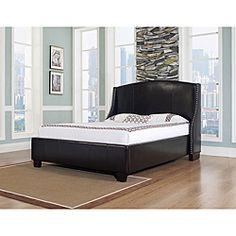 @Overstock - This beautifully upholstered leather bed features an arched sillhouette headboard embellished with side wings and handmade, nickel-brushed nail heads. Complete the look of any stylish bedroom with this Oxford-X bed.  http://www.overstock.com/Home-Garden/Oxford-X-Eastern-King-size-Chocolate-Leather-Bed/6477586/product.html?CID=214117 $1,079.99