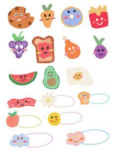 Cute Little Drawings, Cute Drawings, Kawaii Stickers, Cute Stickers, Journal Stickers, Planner Stickers, Note Doodles, Tumblr Stickers, Aesthetic Stickers