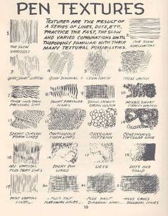 Beginners pen & ink techniques ~ nice to have your own version on this techniques cause we all draw differently. AMANDA TREVIZO: Basic skills are essential in art. This is a great chart on basic pen textures. Sketches, Ink Art, Art Instructions, Pen Art, Art Drawings, Drawings, Texture Drawing, Teaching Art, Art Tutorials