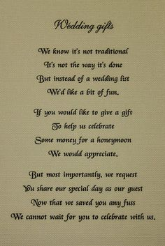 Donot Want A Wedding Gift Poem : ... wedding invitations i don t talk that much wedding invitations i don