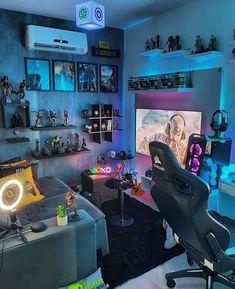Computer Gaming Room, Gaming Room Setup, Gaming Rooms, Pc Setup, Ultimate Gaming Room, Small Game Rooms, Home Music, Game Room Kids, Otaku Room