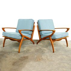 Danish Modern Lounge Chairs furniture, blue, brown