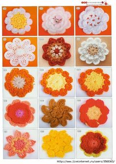 Lots of Flowers to crochet All patterns are charts