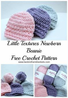 The Little Textures Newborn Beanie crochet pattern is a sweet hat for baby! Use your favorite soft worsted weight yarn to crochet this quick and easy hat! baby kostenlos Little Textures Newborn Beanie Free Crochet Pattern Bonnet Crochet, Bag Crochet, Free Crochet, Booties Crochet, Crochet Beanie Hat, Crochet Baby Hat Patterns, Baby Patterns, Easy Crochet Baby Hat, Crochet Preemie Hats