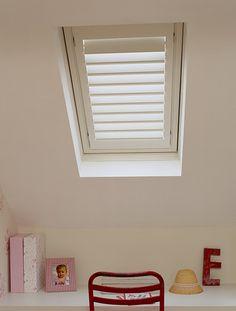Tnesc Soho painted Velux bedroom shutters 89mm blades