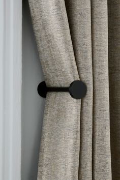 Minimal and stylish, these holdbacks are the perfect solution to keeping your curtains neat and adding extra style to your space. Screws not included. The diameter of stud end: Curtains And Draperies, Luxury Curtains, Home Curtains, Modern Curtains, Black Curtains Bedroom, Elegant Curtains, Drapery, Curtain Styles, Curtain Designs