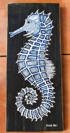 Seahorse painting on reclaimed wood by PalletArtbySteve on Etsy