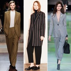 Fall/Winter trends: Menswear-Inspiredenswear-Inspired  Suiting never goes out of style. Fall 2014 is all about chic tailored separates, oversize jackets, and pleated trousers. Make it work for warmer months with a paler color palette, lighter fabrics, and shorter hems.