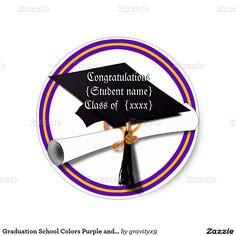 Graduation School Colors Purple and Gold Classic Round Sticker #Just4grad #Gravityx9 #Zazzle