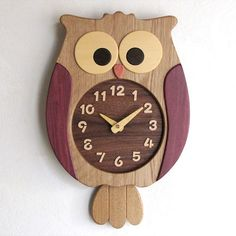 Owl pendulum clock Pinned by Wood Projects, Woodworking Projects, Owl Clock, Owl Kitchen, Wall Clock Design, Clock Wall, Kitchen Wall Clocks, Pendulum Clock, Owl Crafts