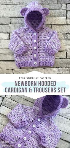 Crochet Baby Cardigan Free Pattern, Crochet Baby Pants, Crochet Baby Sweaters, Newborn Crochet Patterns, Baby Sweater Patterns, Crochet Hoodie, Cute Crochet, Crochet For Kids, Baby Pullover Muster