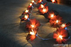 Could make with Christmas lights  0 handmade flower string light home indoor party by cottonlight, $15.50