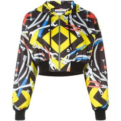 Moschino tool print hoodie ($495) ❤ liked on Polyvore featuring tops, hoodies, jackets, outerwear, sweaters, cropped tops, colorful hoodie, cropped hooded sweatshirt, cropped hoodie and hoodie crop top