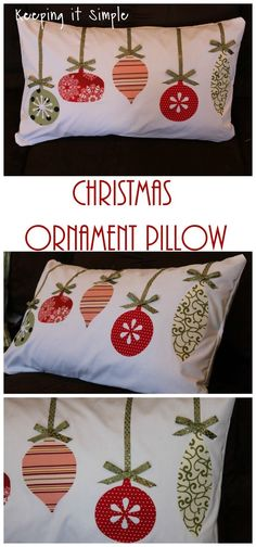 Christmas Pillow Idea- Fabricornament pillow Más