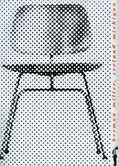 A Herman Miller poster for the Eames Molded Plywood Dining Chair. (Note the economical use of spot red.)