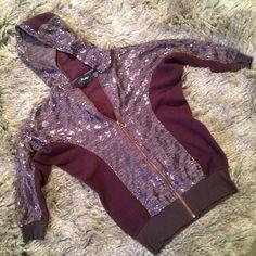 """Miss Me sequin and fleece sweatshirt This hooded sequin and fleece sweatshirt is a dark purple color, zipper closure. Fleece is pilled, lots of life left. L:23.5"""", B:20.5"""", S:16.5"""". Miss Me Tops Sweatshirts & Hoodies"""