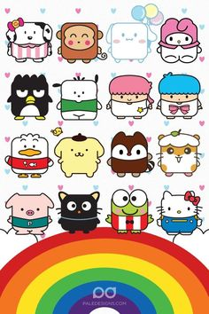 Sanrio characters over a rainbow