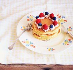 Pancakes w/ strawberries, blueberries, & cream ~ breakfast