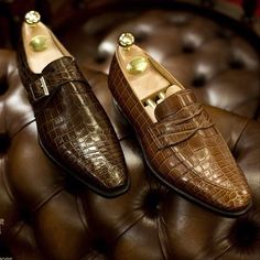 Alligator leather in two Crockett&Jones models: a monkstrap and a penny loafer.