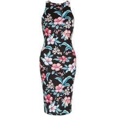 af8a6c28e5ed New Look Black Floral Print Bodycon Midi Dress (57 BAM) ❤ liked on Polyvore