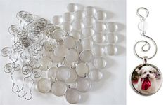 20 Pack Round Glass Picture Christmas Ornament Pendants Large Size 30mm w/ Hooks