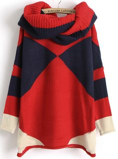 Navy Contrast Red Long Sleeve Scarve Geometric Sweater US$27.54