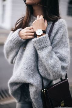 Grey On Grey Look Fuzzy Sweater Burgundy Lock Bag Round Watch Fall Winter Style Via The Fashion Cuisine Mode Outfits, Fall Outfits, Casual Outfits, Fashion Outfits, Womens Fashion, Fashion Tips, Fashion Trends, Summer Outfits, Cosy Winter Outfits