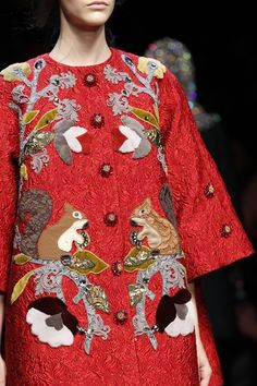 "Dolce & Gabbana ""Folk influences went from Holly Hobbie to fairytale to Inuit. It was craft couture; the techniques and touches were truly magical,"" Vogue fashion director Lucinda Chambers."