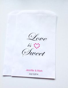 Candy Buffet Favor Bags Love Is Sweet Treat Bags by SweetLoveCandy, $15.50