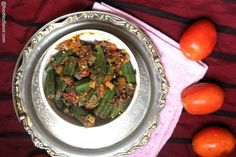 The most delicious version of bhindi I have tried so far. Punjabi Style Bhindi Masala is a spicy, tangy blend of the humble bhindi with right amount of spices. I suppose, I might have mentio… Bhindi Masala Recipe, Vegetable Recipes, Vegetarian Recipes, Okra Fries, Healthy Corn, Veg Dishes, Side Dishes, Indian Food Recipes, Ethnic Recipes