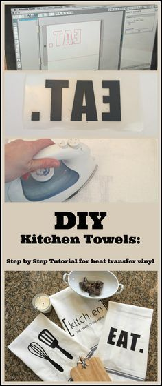 DIY Custom Kitchen Towels Using a Heat Transfer Image | My Life From Home | http://www.mylifefromhome.com