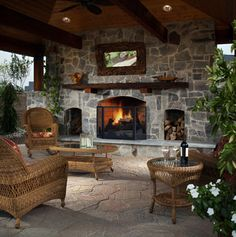 outdoor masonry fireplace designs - Google Search