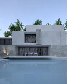villa on Behance Minimalist Architecture, Contemporary Architecture, Architecture Details, Interior Architecture, Contemporary Design, Modern Exterior, Exterior Design, Interior Design And Graphic Design, Design Art