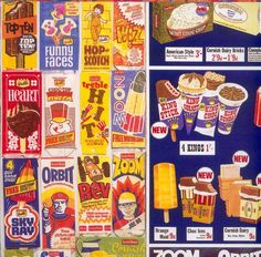 Names of Ice Lollies. And the fact they are calledn Ice Lollies indicates this must be in England. Old Sweets, Vintage Sweets, Retro Sweets, Vintage Ads, Retro Food, Vintage Food, Vintage Photos, 1970s Childhood, My Childhood Memories