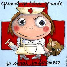 Quand je serai grande...                                                                                                                                                                                 Plus Illustrations, Illustration Art, Cuando Sea Grande, Nurse Love, Kids Up, When I Grow Up, My Character, My Little Girl, Art Plastique