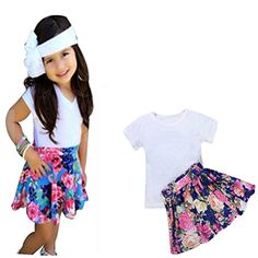 0626c33e8869 Franterd Floral Toddler Girls Tshirt Tops Skirt Cute Dress Outfit Clothes  Sets     Click