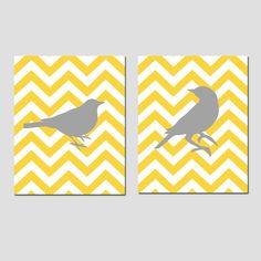 Chevron Birds - Set of Two Prints - Bathroom, Nursery, Kitchen, Bedroom - Choose Your Colors -